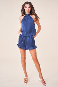 Passion Fruit Side Neck Tie Romper