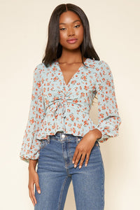 Shelli Floral Ruched Peplum Blouse