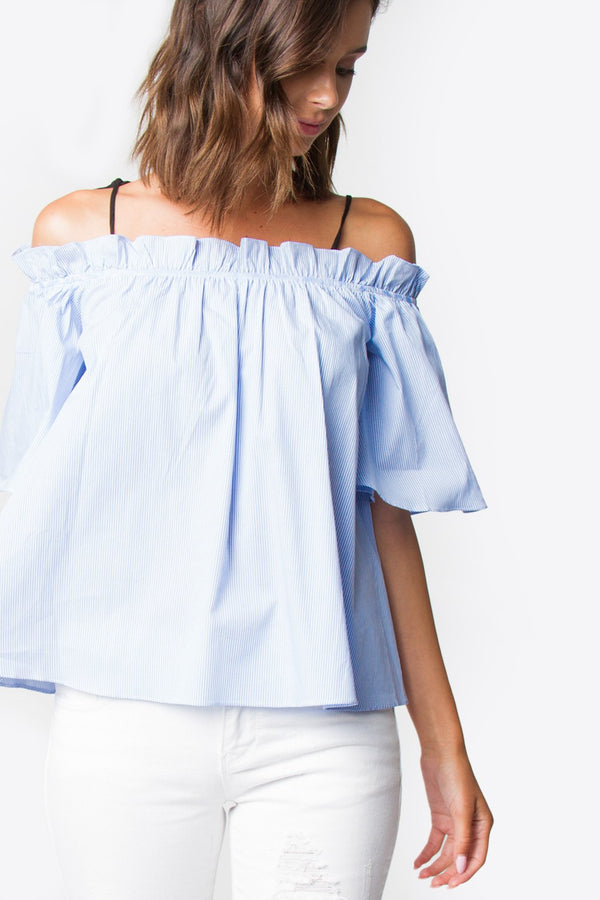 Bree Striped Open Shoulder Top