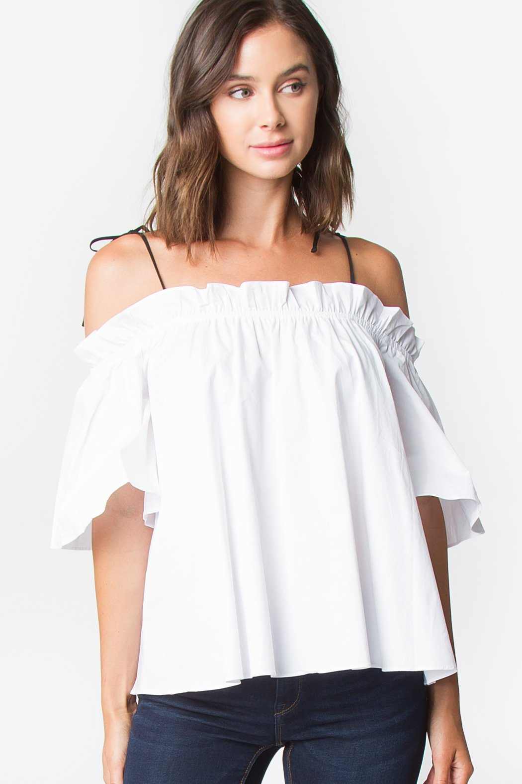843392cf4a4bc Bree White Open Shoulder Top – Sugarlips