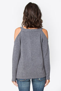 Mattie Lace-Up Cold Shoulder Sweater
