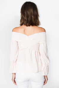 Madison Smocked Bardot Top