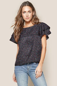 Reece Star Print Ruffle Top