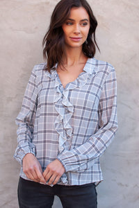 Dolly Plaid Ruffle Blouse