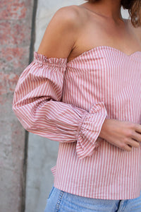 Tiger Striped Off The Shoulder Top