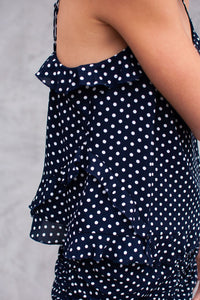 Kacy Polka Dot Ruffle Crop Top