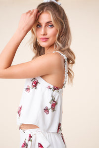 Carnation Crush Floral Crop Top