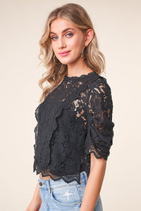 Romeo Balloon Sleeve Lace Blouse