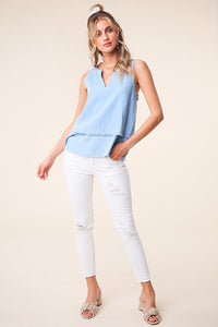 Cannes Chambray Frayed Hem Top