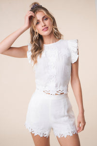 Junebug Lace Trim Crop Top