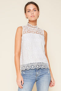 Bora Bora Crochet Mock Neck Blouse