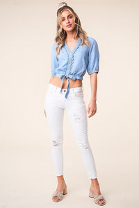 Cannes Chambray Button Up Blouse