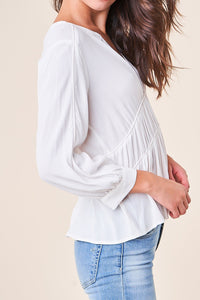 Pompeii Contrast Piping Peasant Blouse