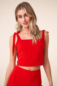 All Night Shoulder Tie Crop Top