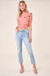 Moroccan Ruffle Crop Top