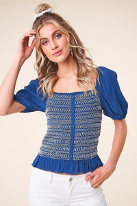Cammie Smocked Square Neck Top
