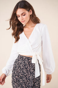 Fairyland Long Sleeve Waist Wrap Crop Top