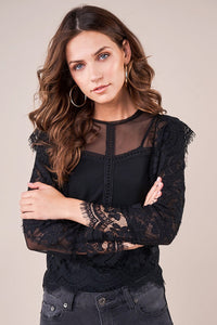 Playful Hearts Long Sleeve Sheer Lace Blouse
