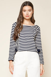 True Blue Striped Long Sleeve Crop Top