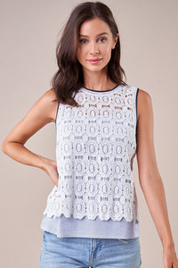 Compass Mix Media Lace Top