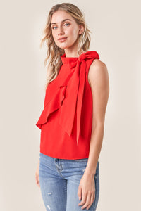 Hustler Sleeveless Neck Tie Blouse