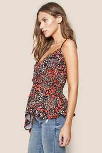 La Peer Floral Draped Cami