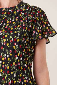 Spot Me Pleated Floral Blouse
