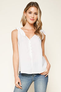Elerie Sleeveless Shoulder Tie Top