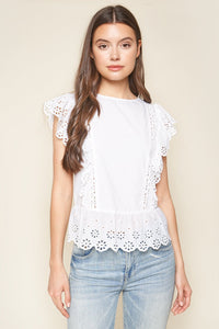 Dollie Eyelet Peplum Top