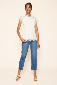 You Complete Me Lace Mock Neck Top