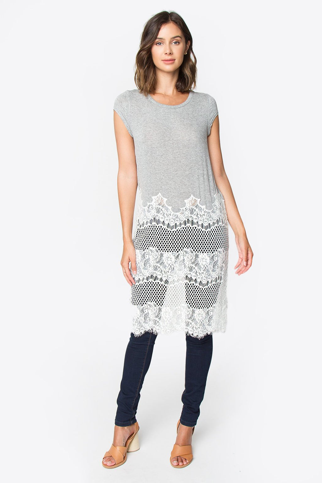 Heather Lace Tunic Top
