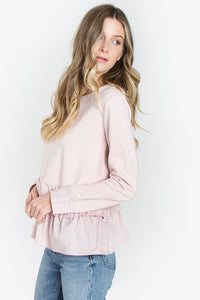 Clementine Ruffle Knit Pink Top