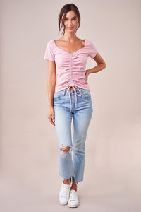 Del Ray Short Sleeve Ruched Top