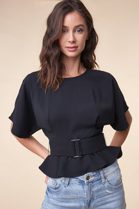 Rise Up Short Sleeve Belted Blouse