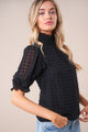 Keepsake Smocked Mock Neck Blouse