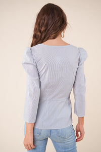 Rios Striped Puff Sleeve Blouse