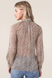 Saffron Leopard Mock Neck Blouse