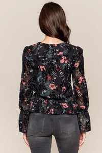 Irina Burnout Velvet Floral Wrap Top