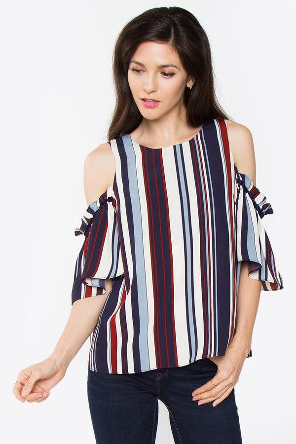 Abriella Striped Cold Shoulder Top