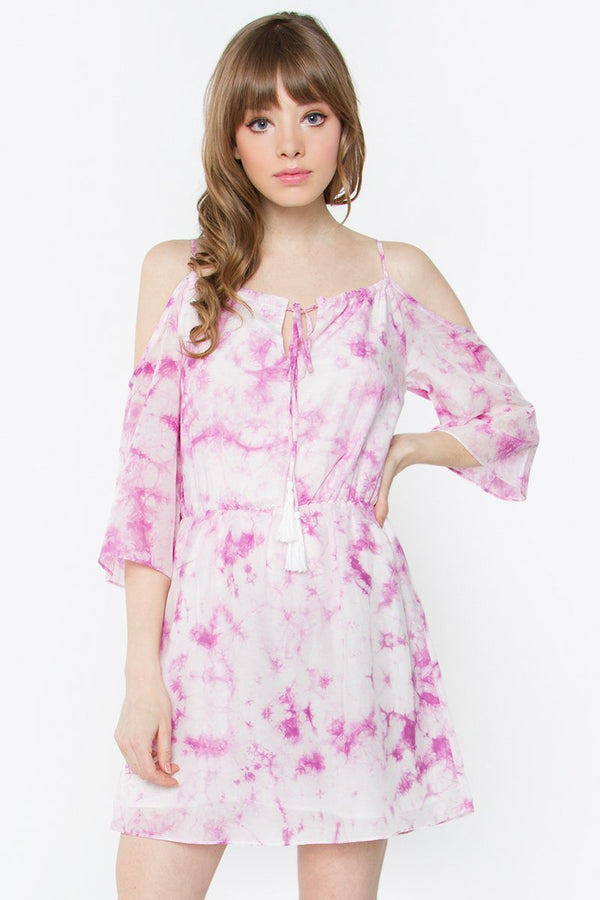 Cadence Tie-Dye Cold Shoulder Dress