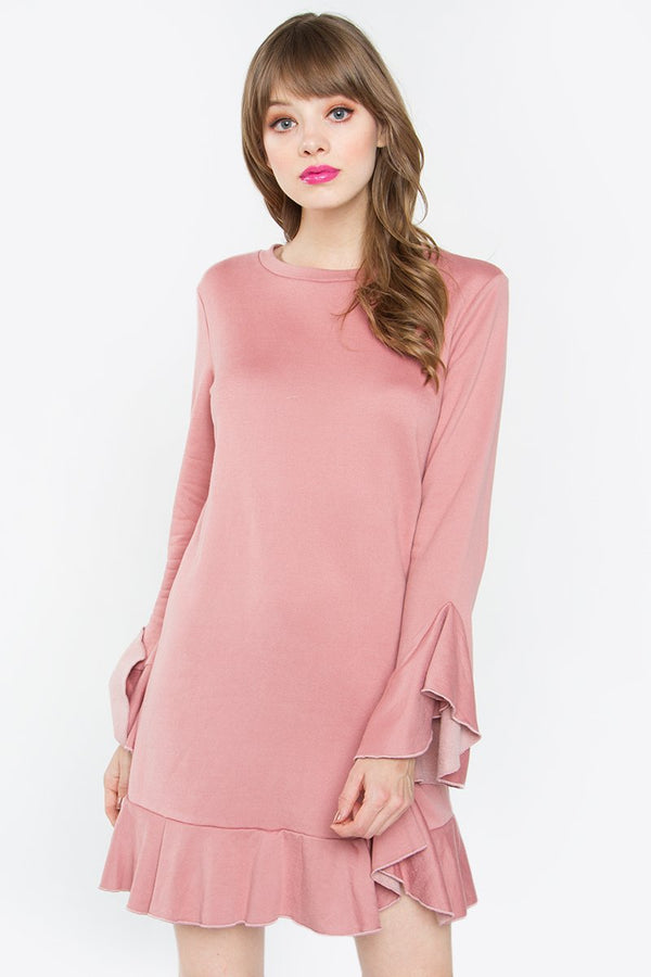 Monroe Pink Ruffle Knit Dress