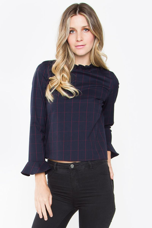 Chandon Plaid Ruffle Top