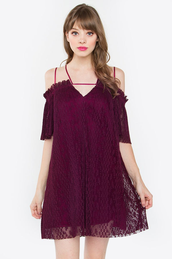 Moonlight Pleated Lace Dress
