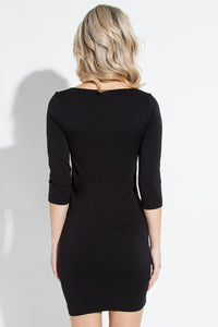 Scoop Neck 3/4 Sleeve Dress