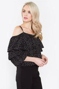 Findley Polka Dot Ruffle Top