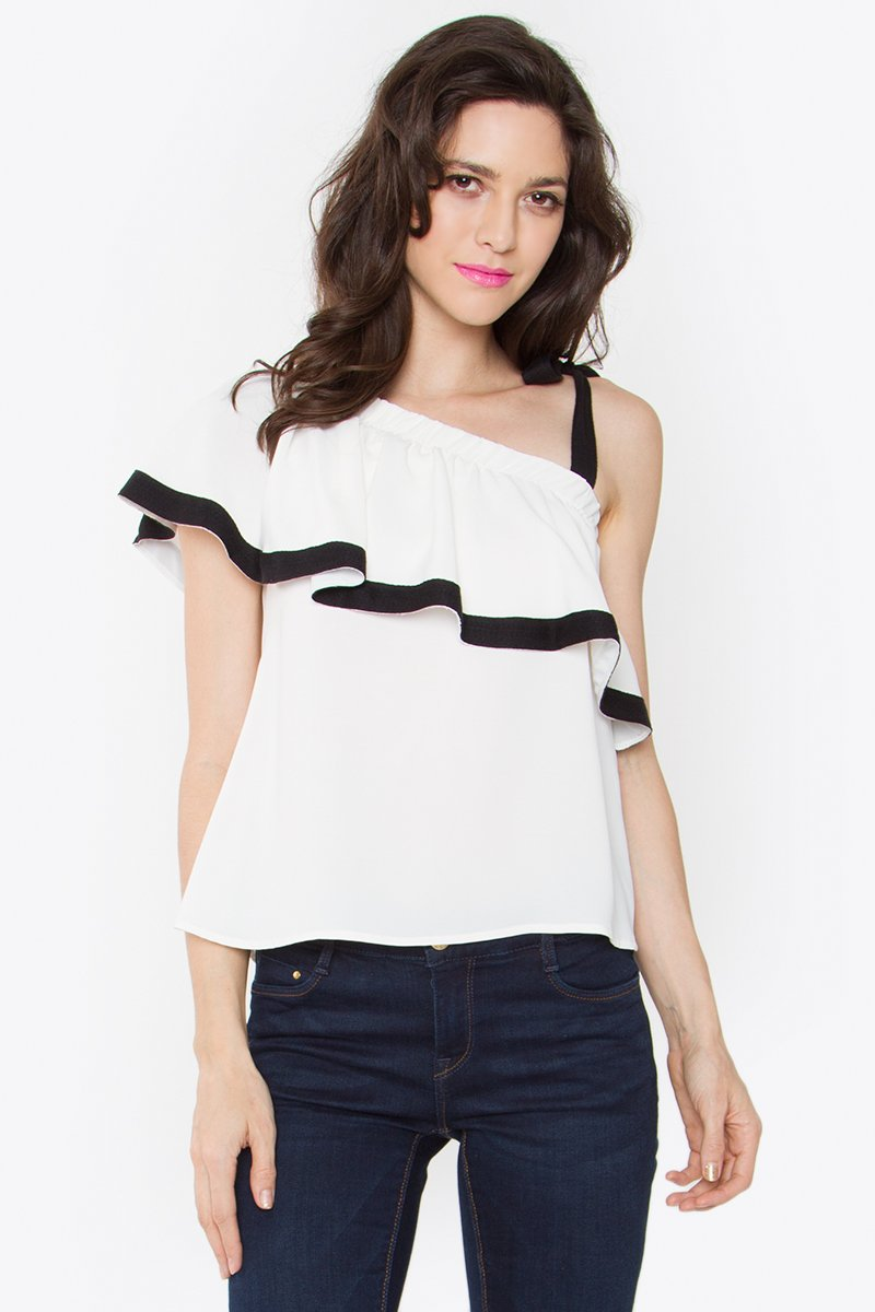 Chloe White One Shoulder Top