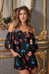 Bailamos Idris Floral Off The Shoulder Romper