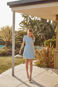 Arizona Chambray Ruffle Mini Dress