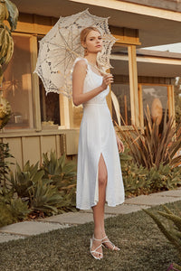 Angelic Ruffled Midi Dress