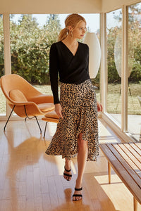 Saturated Love High-Low Leopard Print Midi Skirt